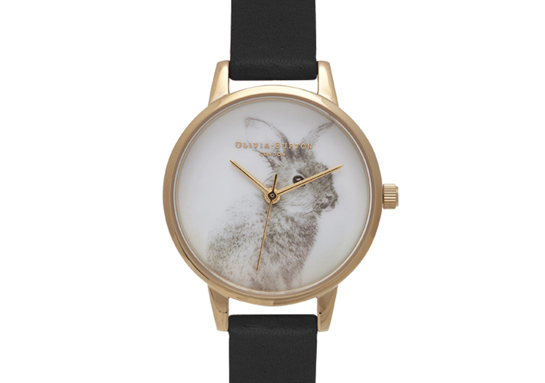 OB15WL57 Woodland Bunny Black and Gold