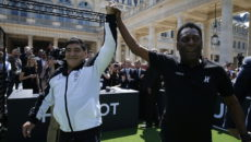 Diego Armando Maradona (L) retired Argentine professional footballer and coach and Edson Arantes do Nascimento, known as Pelé, retired Brazilian professional footballer and coach during the arrival of the players and coaches before the football match of friendship with Pelé and Maradona sponsored by Hublot in Paris, France on 9th of June 2016.