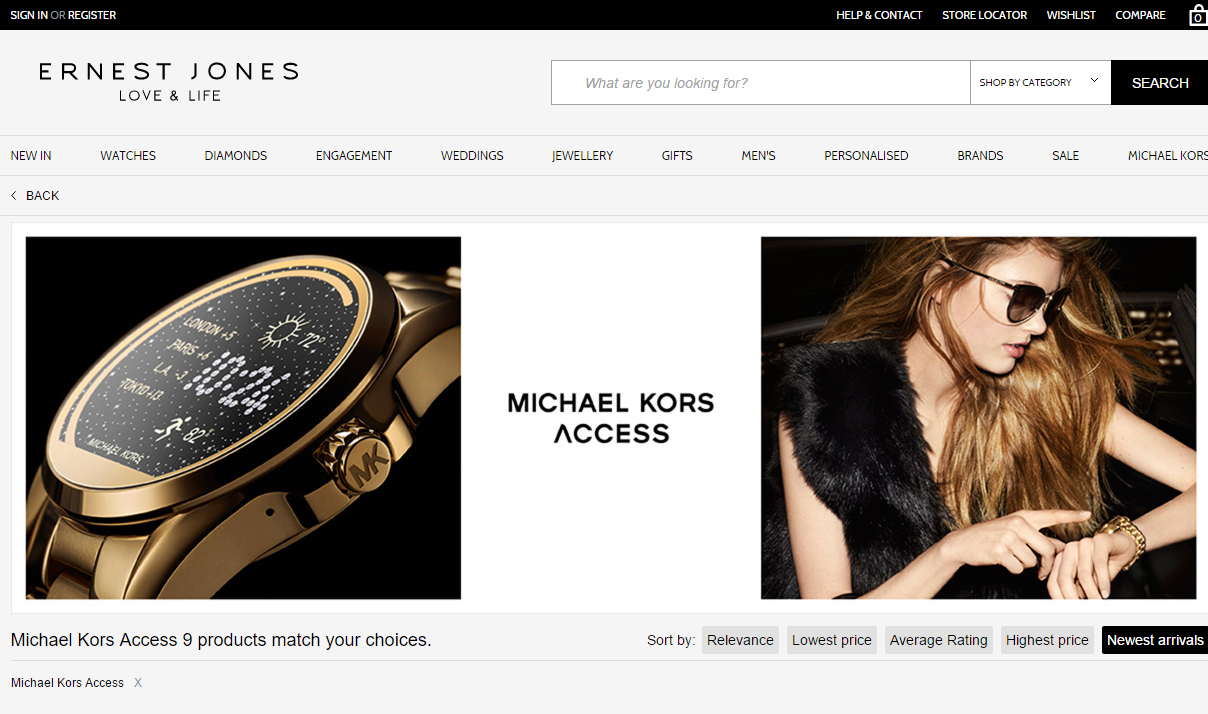 8ff7628c8a771 Ernest Jones splashes with Michael Kors Access smartwatches on its homepage