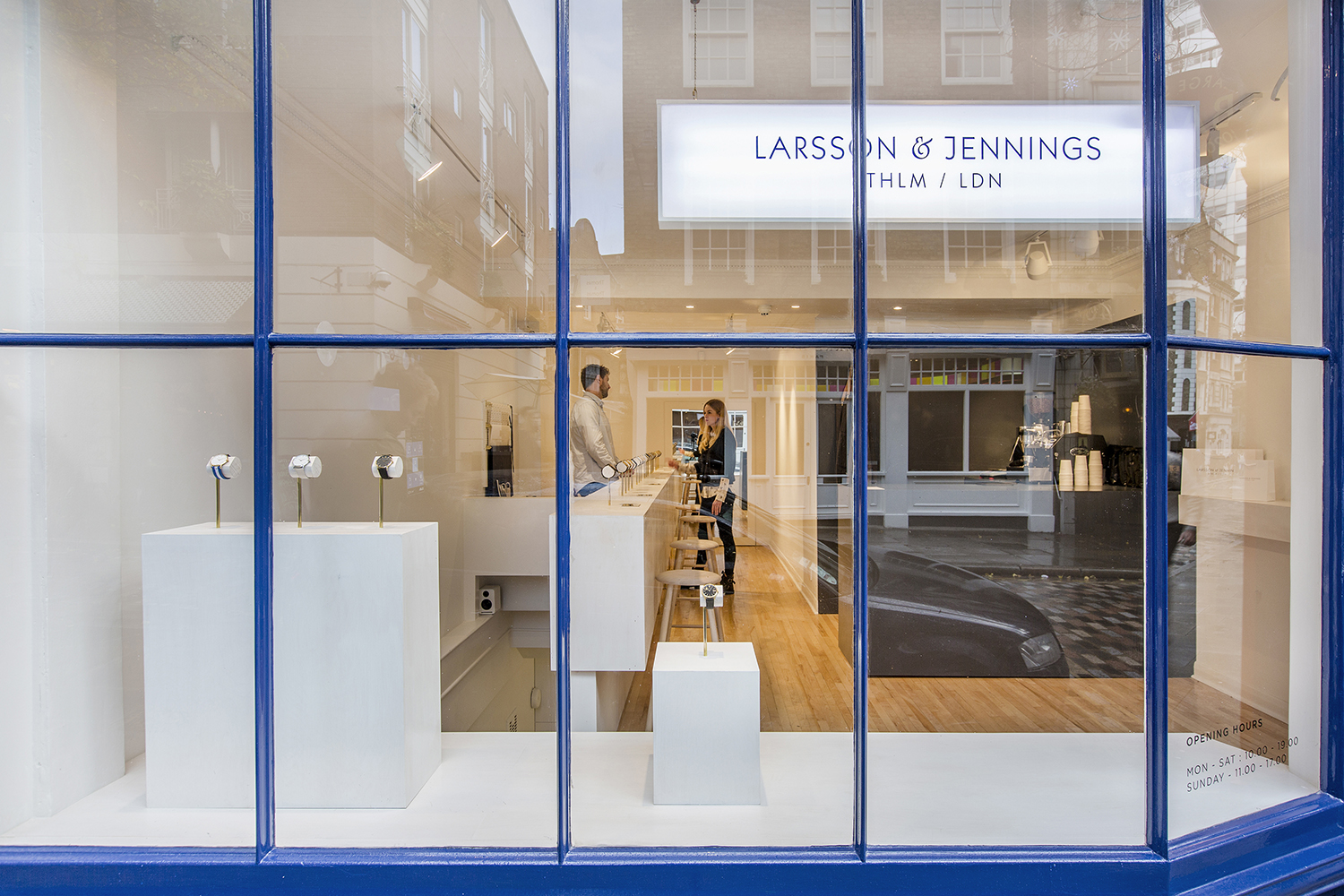 The minimalist styling of the Larsson & Jennings London boutique is a key selling point of the brand.