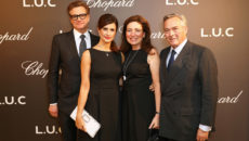LONDON, ENGLAND - OCTOBER 11:  (L to R) Colin Firth, Livia Firth, Christine Scheufele and Karl-Friedrich Scheufele, Co-President of Chopard, attend the cocktail opening of the Chopard exhibition 'L.U.C - L'art d'une Manufacture' at Phillips Gallery on October 11, 2016 in London, England.    Pic Credit: Dave Benett