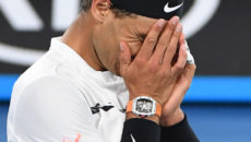 Spain's Rafael Nadal celebrates his victory against against Canada's Milos Raonic during their men's singles quarter-final match on day ten of the Australian Open tennis tournament in Melbourne on January 25, 2017. / AFP / WILLIAM WEST / IMAGE RESTRICTED TO EDITORIAL USE - STRICTLY NO COMMERCIAL USE        (Photo credit should read WILLIAM WEST/AFP/Getty Images)