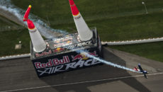 INDIANAPOLIS, IN - OCTOBER 2:  In this handout provided by Red Bull, Matt Hall of Australia performs during the finals at the seventh stage of the Red Bull Air Race World Championship at Indianapolis Motor Speedway on October 2, 2016 in Indianapolis, Indiana.   (Photo by Mihai Stetcu/Red Bull via Getty Images)