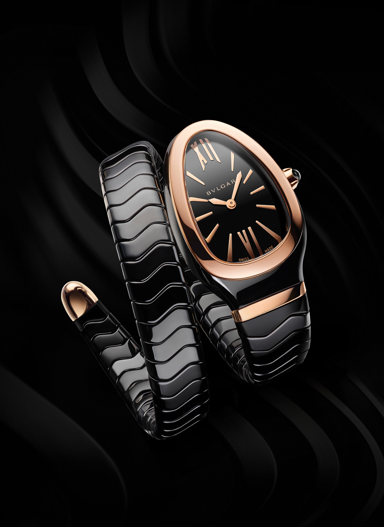 The striking black ceramic and gold Serpenti.