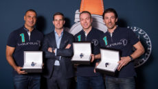 "MONTE CARLO, MONACO - FEBRUARY 13:  The new members of the Laureus World Sports Academy are racing cyclist Fabian Cancellara, track cyclist Sir Chris Hoy and footballer Ruud Gullit. They all received an IWC Da Vinci Chronograph Edition ""Laureus Sport for Good Foundation"" from the new CEO of IWC, Chris Grainger-Herr, February 13, 2017 in Monte Carlo, Monaco. (Photo by Lukas Schulze/IWC Schaffhausen via Getty Images )"