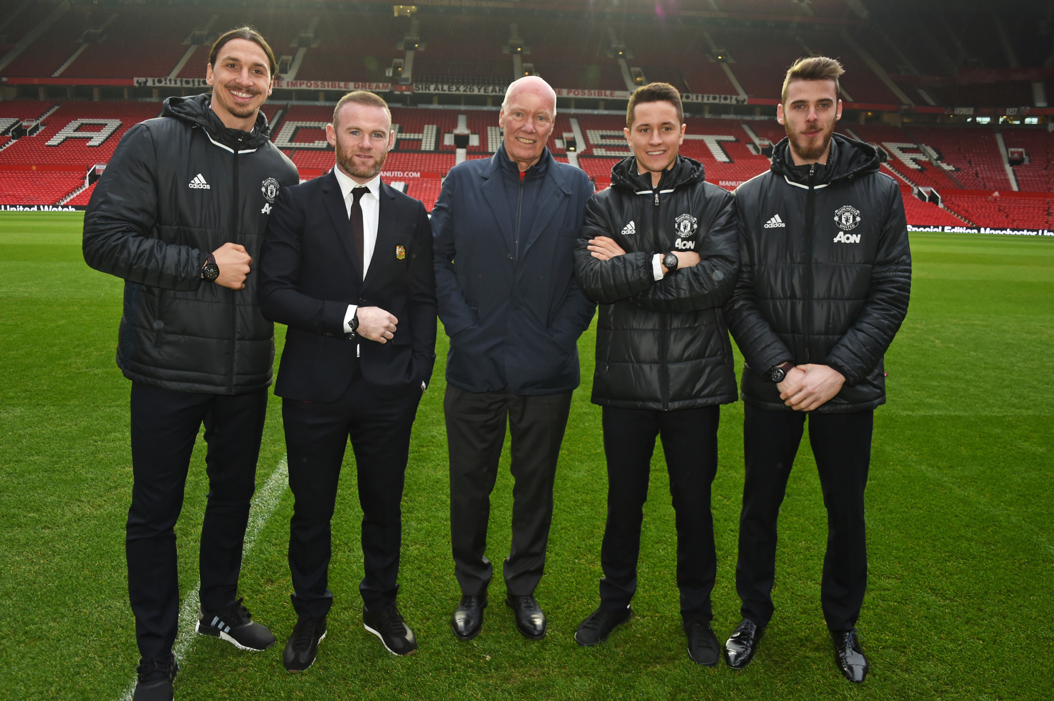 MANCHESTER, ENGLAND - FEBRUARY 08:  Zlatan Ibrahimovic, Wayne Rooney, Jean-Claude Biver, TAG Heuer CEO and President of the LVMH Watch Division, Ander Herrera and David De Gea attend the launch of the TAG Heuer Manchester United partnered special editions at Old Trafford on February 8, 2017 in Manchester, England.    Pic Credit: Dave Benett