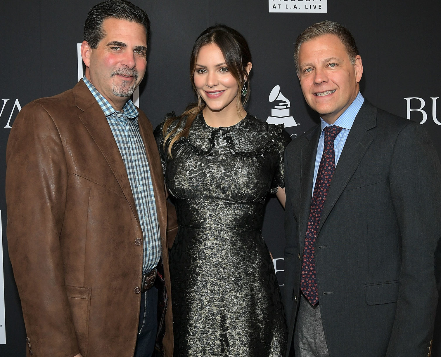 President of Citizen Watch America, Bulova Jeffrey Cohen, Katharine McPhee and Managing Director Bulova U.S. Michael Benavente attend the Bulova x GRAMMY Brunch in the Clive Davis Theater at The GRAMMY Museum on February 11, 2017 in Los Angeles, California.  (Photo by Charley Gallay/WireImage)