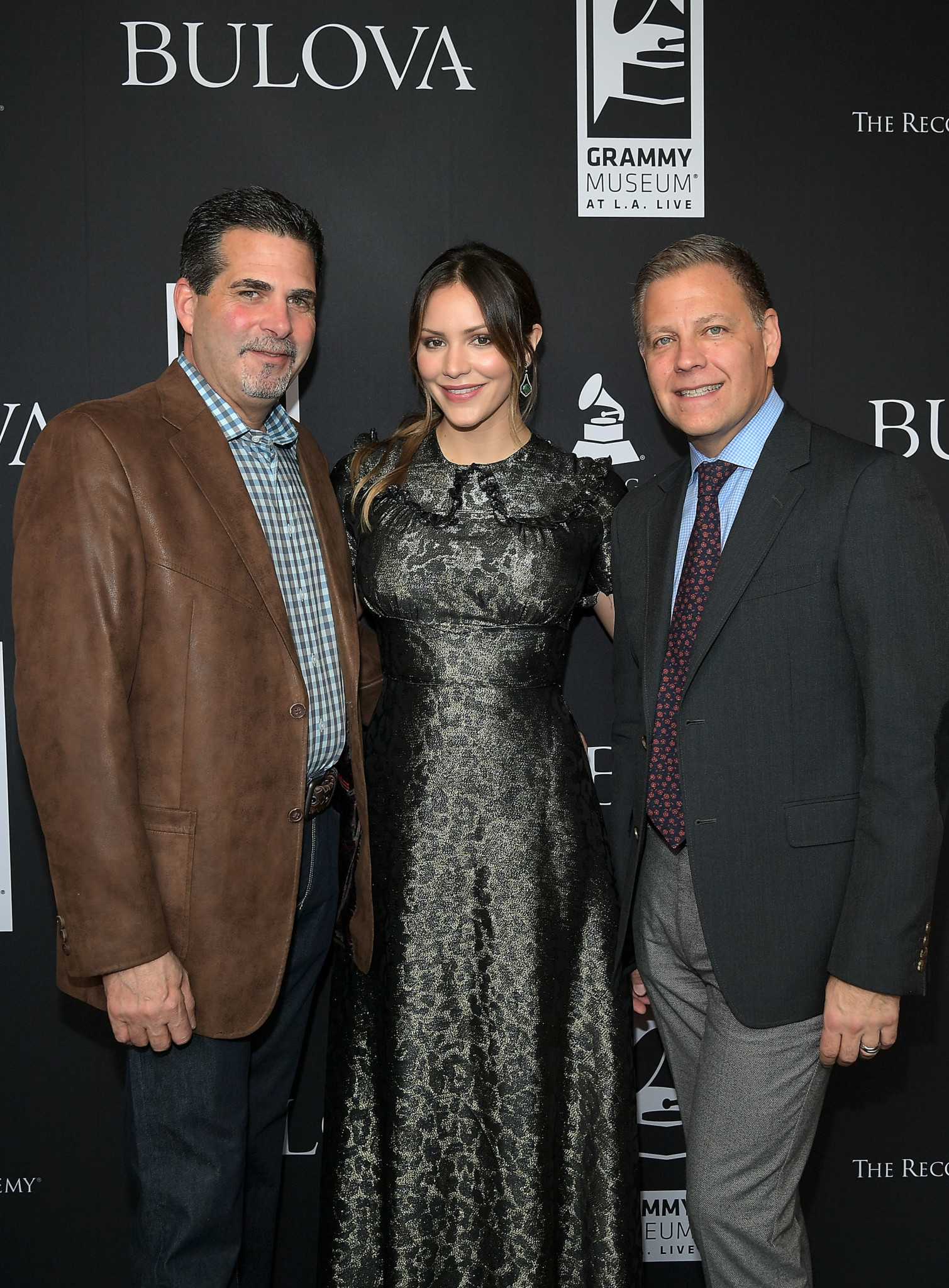LOS ANGELES, CA - FEBRUARY 11:  (L-R) President of Citizen Watch America, Bulova Jeffrey Cohen, Katharine McPhee and Managing Director Bulova U.S. Michael Benavente attend the Bulova x GRAMMY Brunch in the Clive Davis Theater at The GRAMMY Museum on February 11, 2017 in Los Angeles, California.  (Photo by Charley Gallay/WireImage)