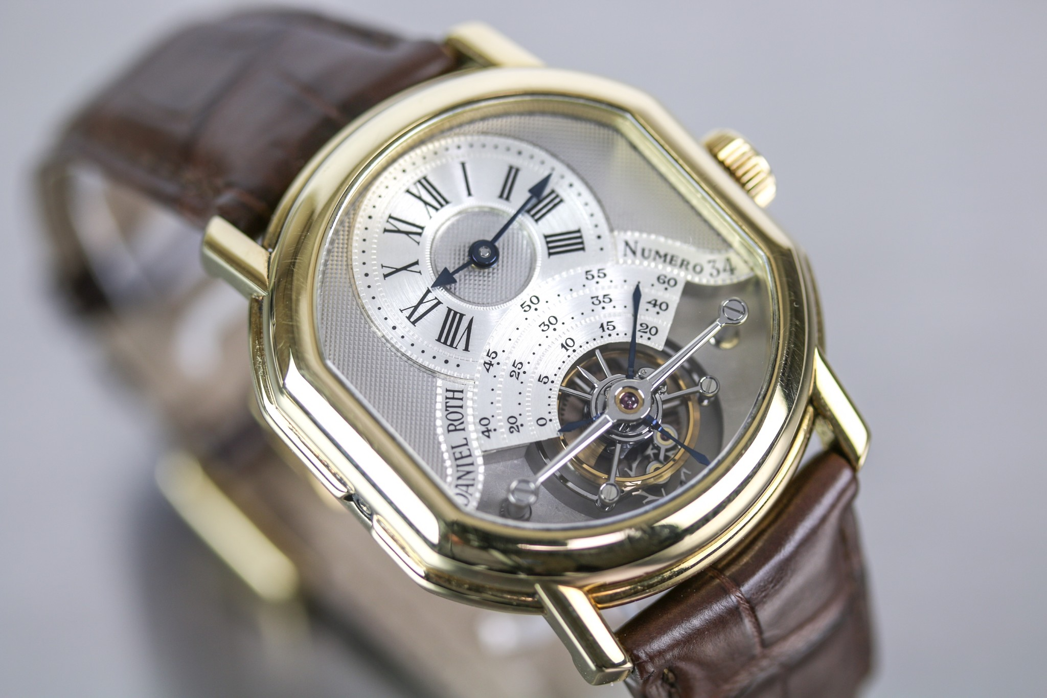 Daniel Roth yellow gold oval double dialled Tourbillon Wristwatch