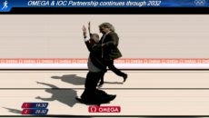 Swatch Group's Nick Hayek and the IOC's Thomas Bach race to a photo finish.