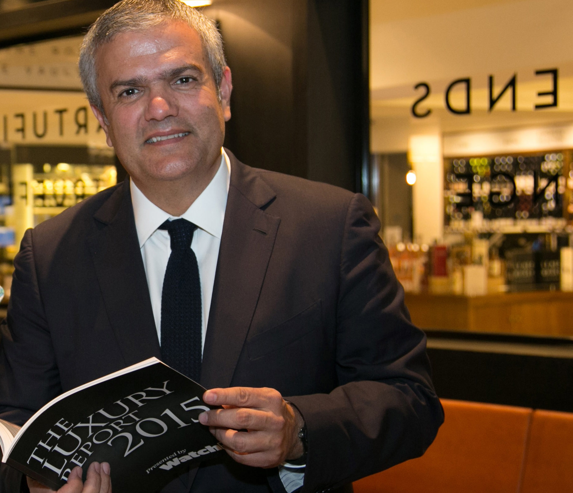 Ricardo Guadalupe, CEO of Hublot, catches up on important business news with his copy of the WatchPro Luxury Report.
