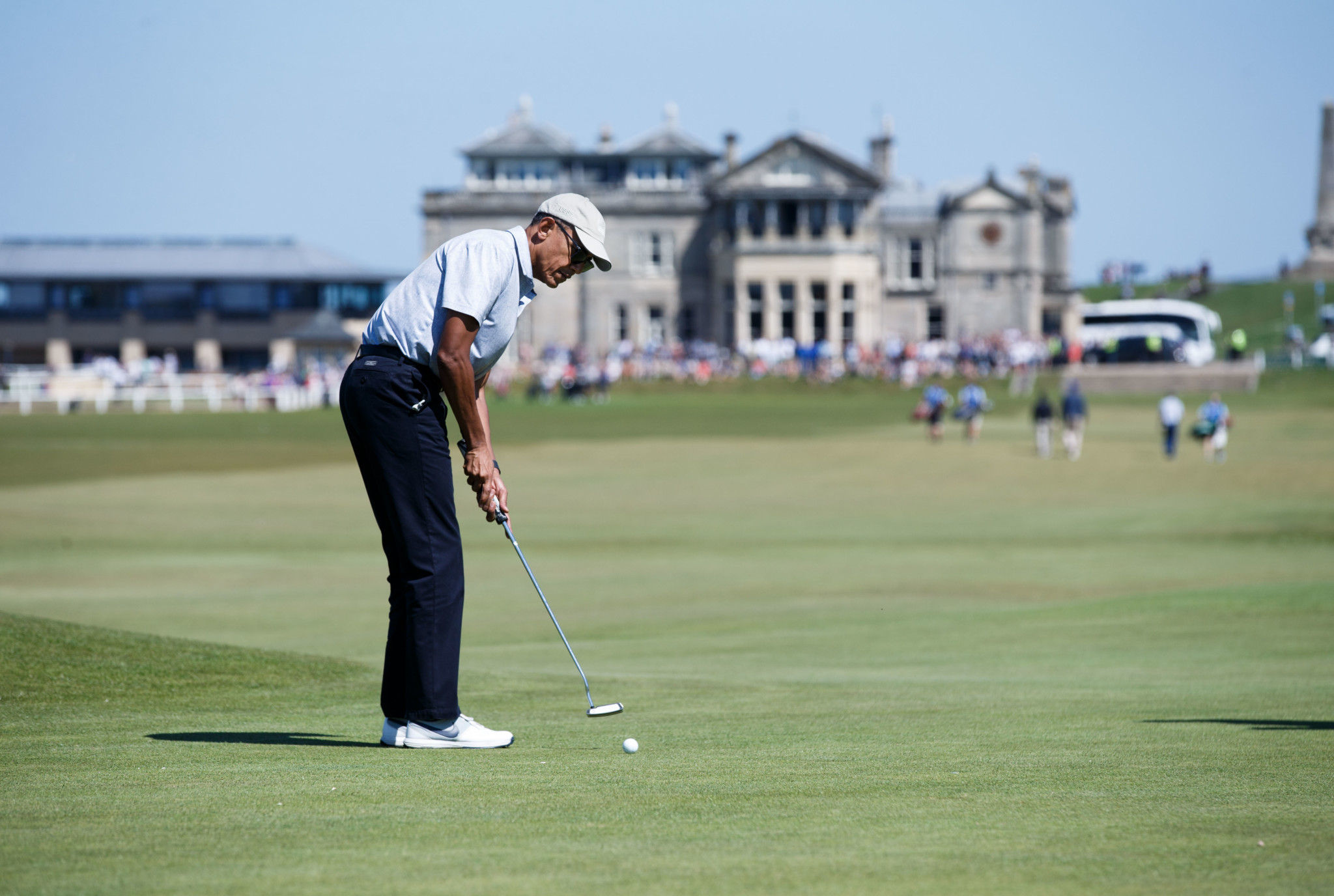 Former United States President Barack Obama also played a round of golf at the Old Course in St Andrews during his recent trip to Scotland. (Photo by Robert Perry/Getty Images)