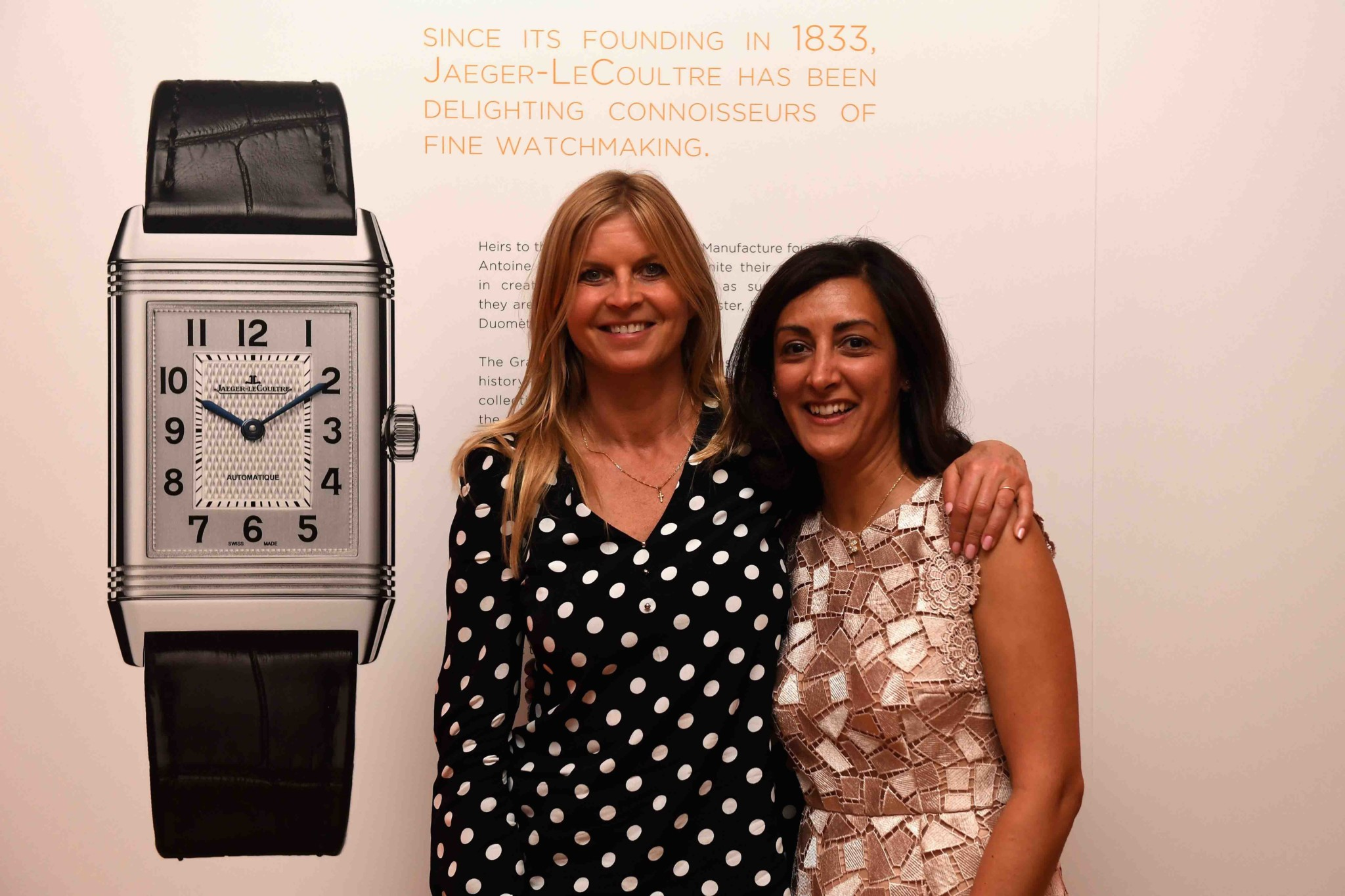 "Clare Mountbatten, Marchioness of Milford Haven, (L) and Zahra Kassim-Lakha attend Jaeger-LeCoultre & Christie's ""Roaring 20's, Reverso 30's"" Party at Christie's South Kensington (Photo by Chris J Ratcliffe/Getty Images for Jaeger-LeCoultre)"