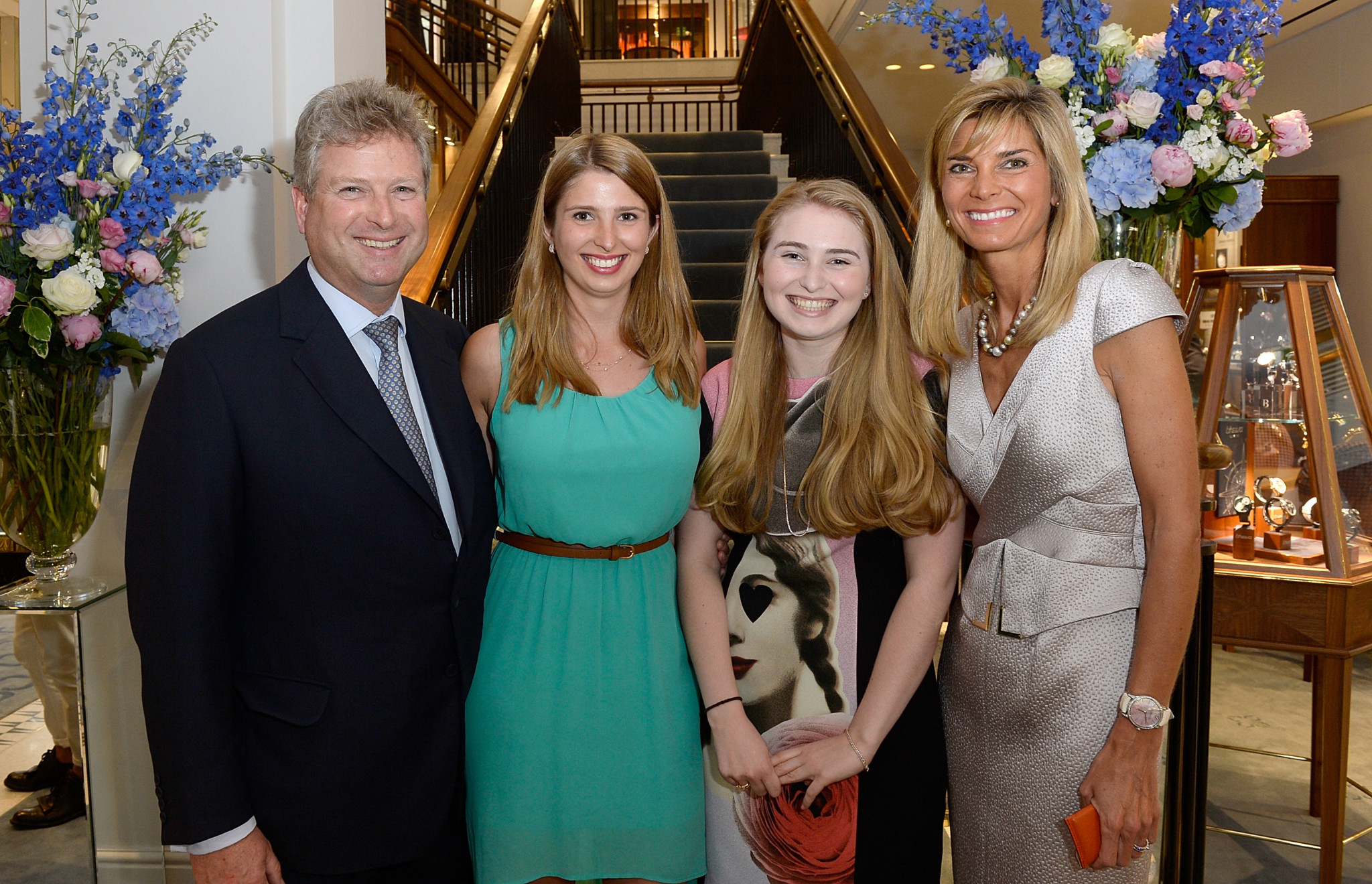 William and Lucy Asprey with daughters attending the William & Son flagship store launch in 2015.  (Photo by David M. Benett/Dave Benett / Getty Images for William & Son)