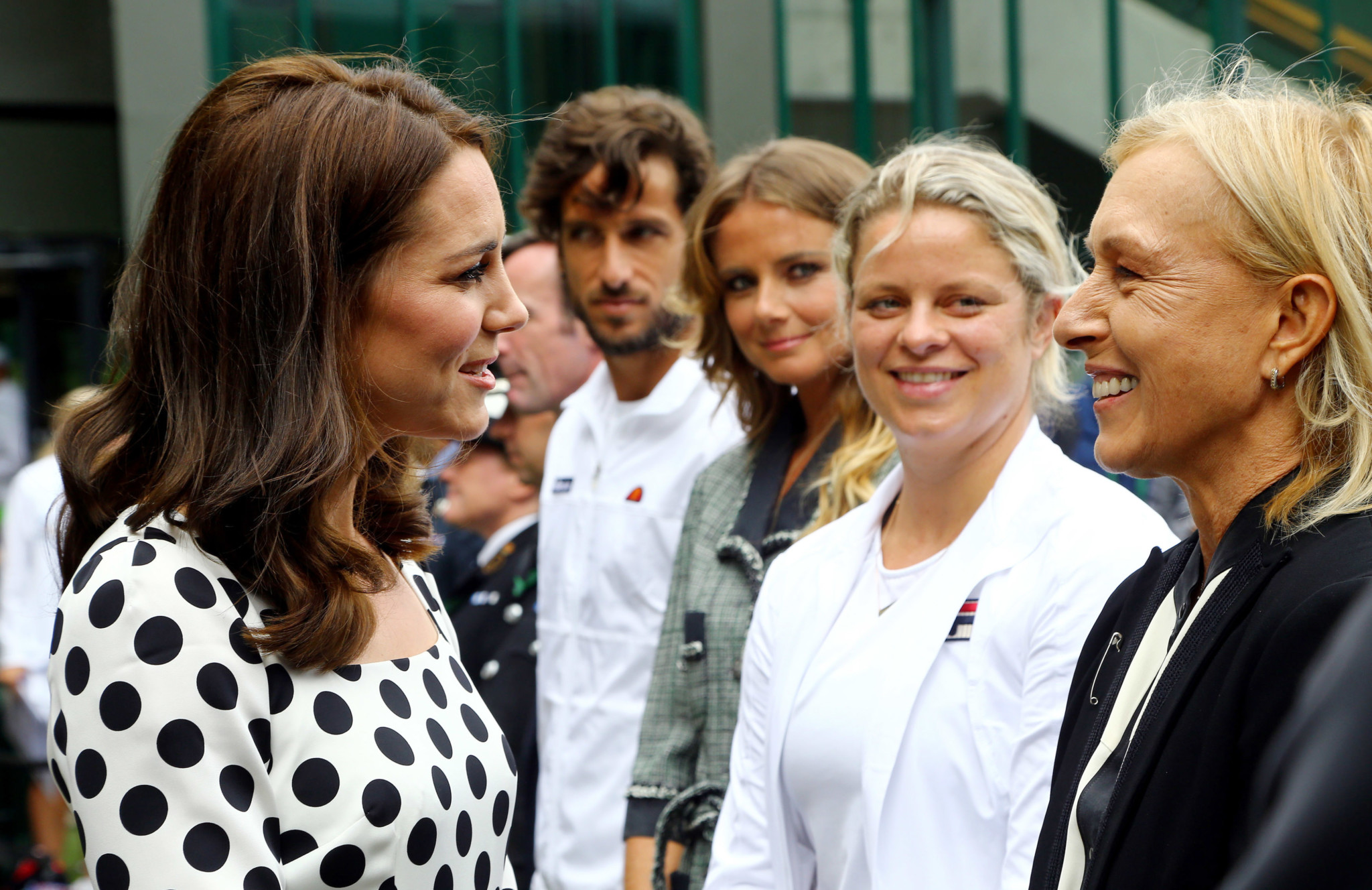 The Duchess of Cambridge speaks with Martina Navratilova (right) on day one of the Wimbledon Championships.  (Photo by Gareth Fuller - WPA Pool/Getty Images)