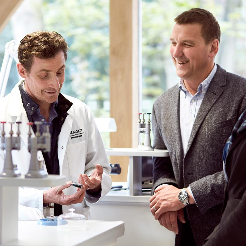 Bremont co-founder Nick English shows Olympic rowing legend Matthew Pinsent how they make their watches.