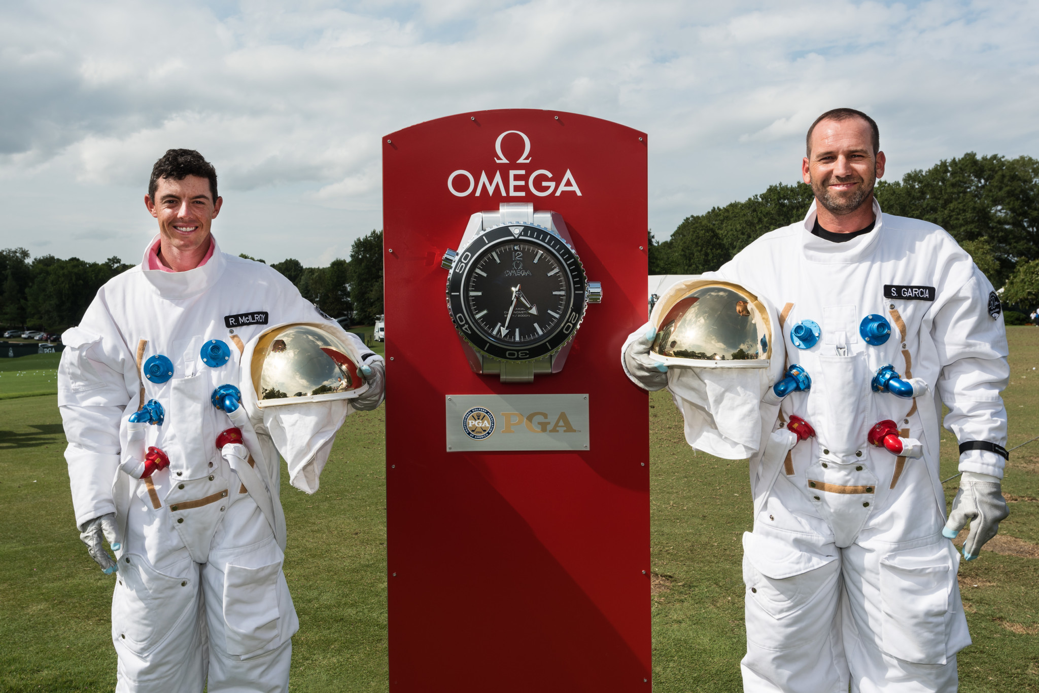 Rory McIlroy & Sergio Garcia in Astronaut Uniforms - OMEGA