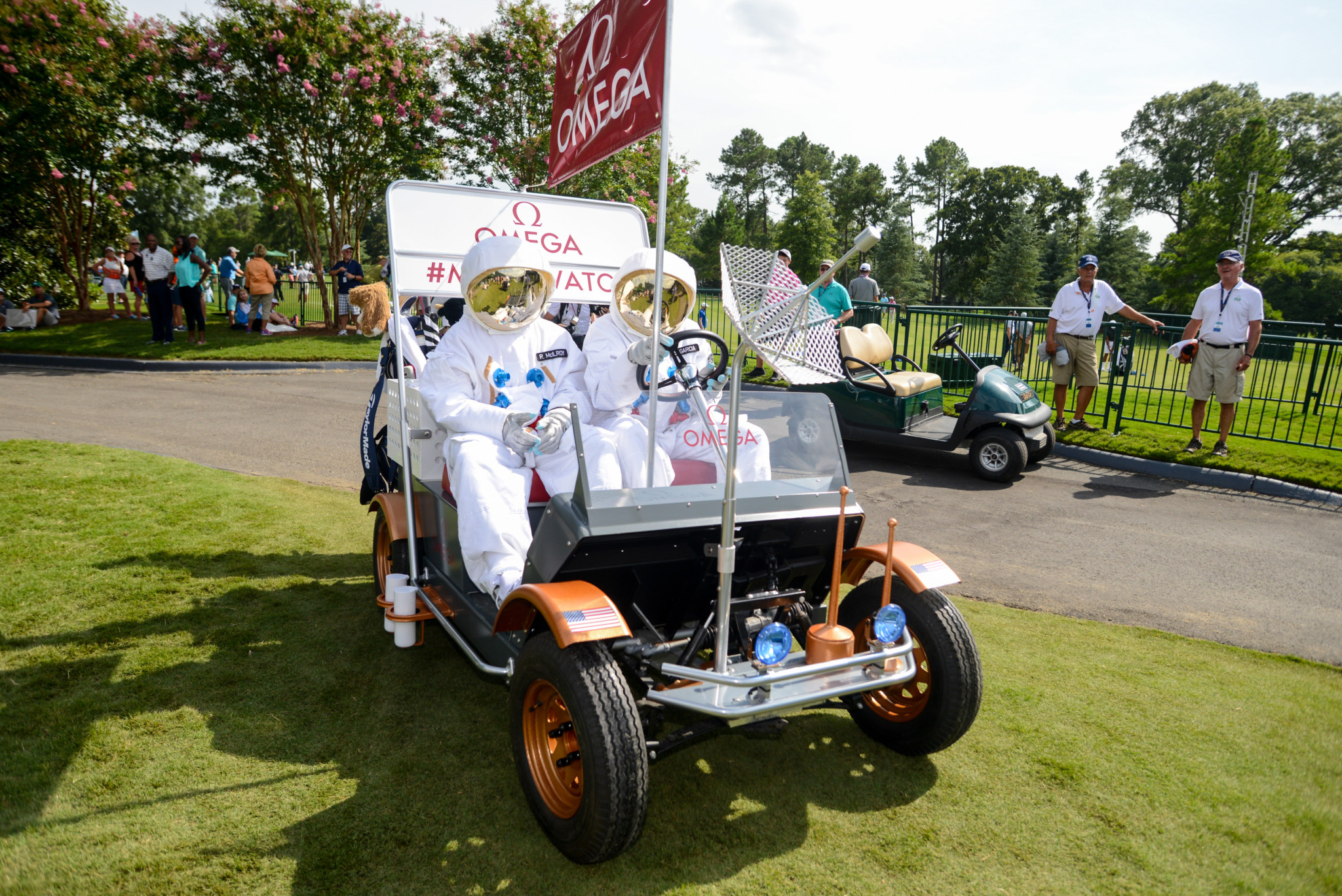 Sergio Garcia & Rory McIlroy Driving OMEGA Lunar Rover