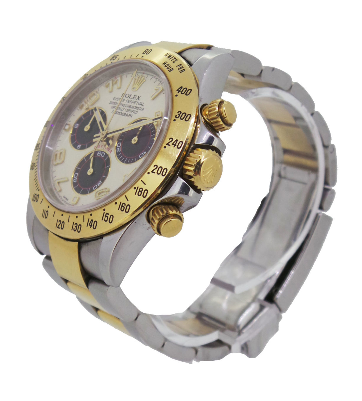 Rolex Model: Daytona Cosmograph Model number: 116523 Movement Type: Automatic Bracelet: Bi-Colour Case: Steel With Gold Bezel Dial: Cream With Black Sub Dials Bezel Size: 40mm Box: No Papers:No Estimated NRP: £11,500.00.