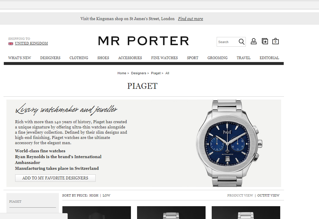 a3d1261f73d Mr Porter targets 'contemporary' watch buyers with exclusive Piaget online  deal