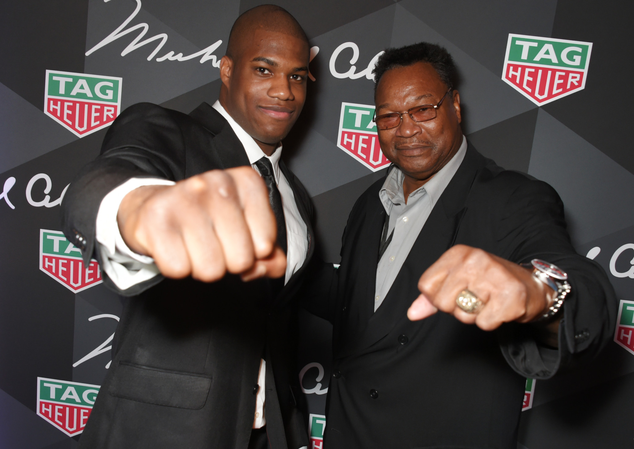 LONDON, ENGLAND - OCTOBER 10:  Daniel Dubois (L) and Larry Holmes attend the launch of the TAG Heuer Muhammad Ali Limited Edition Timepieces at BXR Gym on October 10, 2017 in London, England.  Pic Credit: Dave Benett