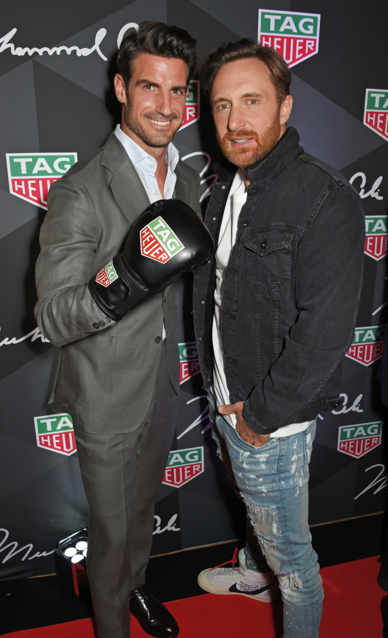 LONDON, ENGLAND - OCTOBER 10:  Aitor Ocio (L) and David Guetta attend the launch of the TAG Heuer Muhammad Ali Limited Edition Timepieces at BXR Gym on October 10, 2017 in London, England.  Pic Credit: Dave Benett