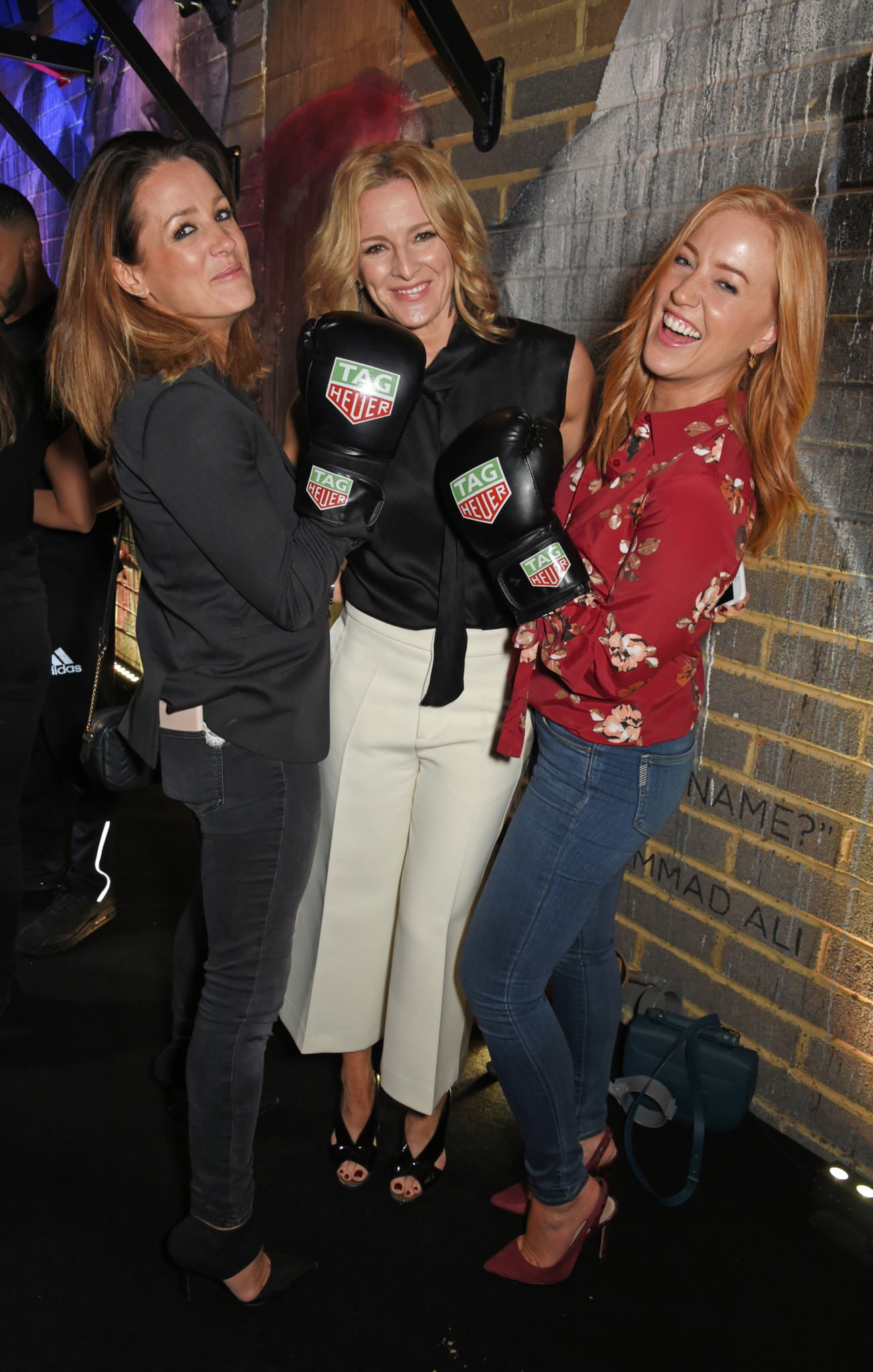 LONDON, ENGLAND - OCTOBER 10:  (L to R) Natalie Pinkham, Gabby Logan and Sarah-Jane Mee attend the launch of the TAG Heuer Muhammad Ali Limited Edition Timepieces at BXR Gym on October 10, 2017 in London, England.  Pic Credit: Dave Benett