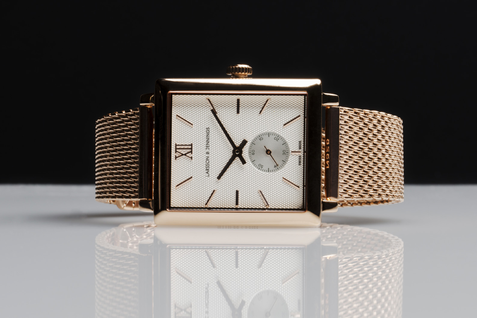 Larsson & Jennings has produced a gold-coloured automatic with a square dial.