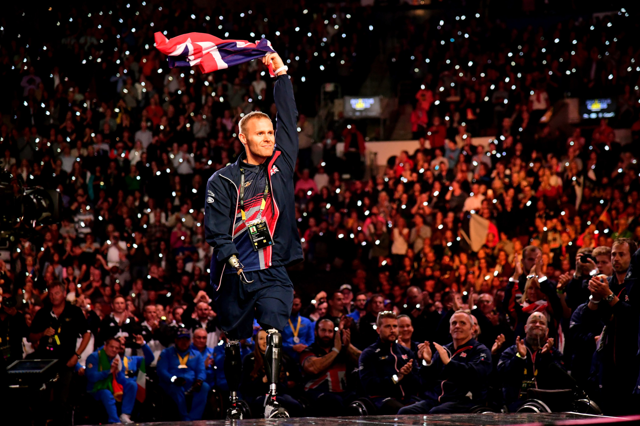 Mark Ormrod of the United Kingdom receives the Jaguar Award for Exceptional Performance during the closing ceremony of the Invictus Games 2017.  (Photo by Harry How/Getty Images)