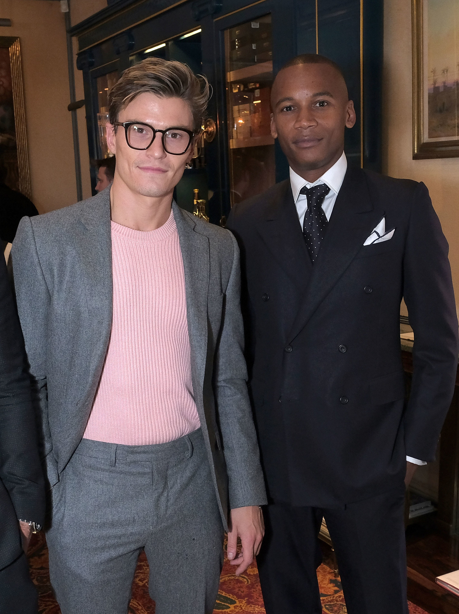 LONDON, ENGLAND - OCTOBER 04: Oliver Cheshire (L) and Eric Underwood attend the Breguet Classic Tour #MyBreguetMoment in association with The Gentleman's Journal at Mark's Club on October 4, 2017 in London, England. (Photo by David M. Benett/Dave Benett/Getty Images for Breguet) *** Local Caption *** Oliver Cheshire; Eric Underwood