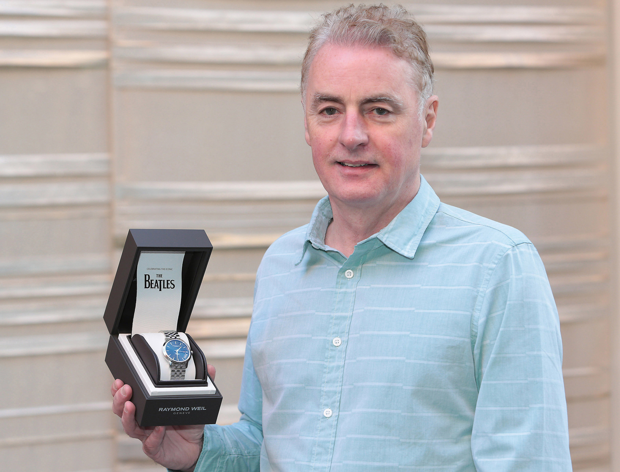 Dave Fanning  at Weirs in Dublin with his Raymond Weil Limited Edition  Maestro The Beatles Abbey Road watch.