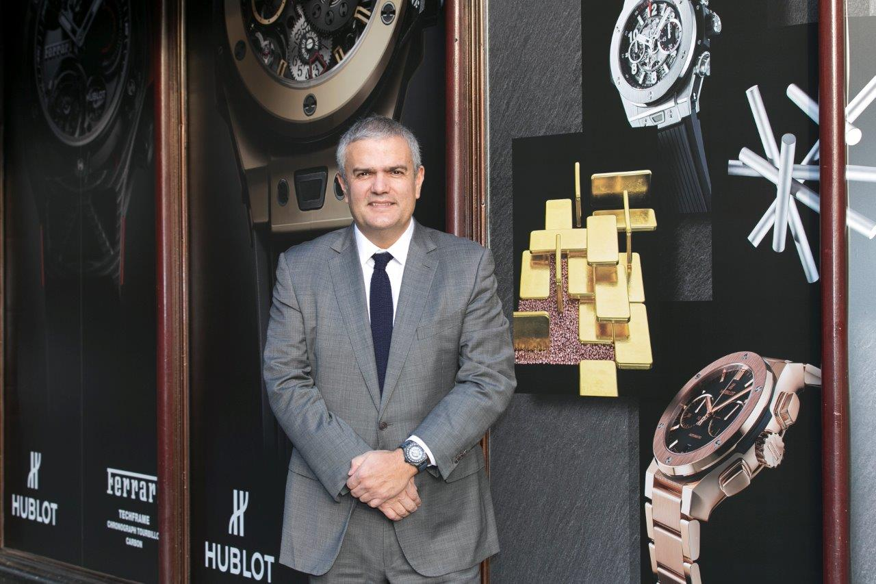 Hublot CEO Ricardo Guadalupe at the Harrods Art of Fusion exhibition.