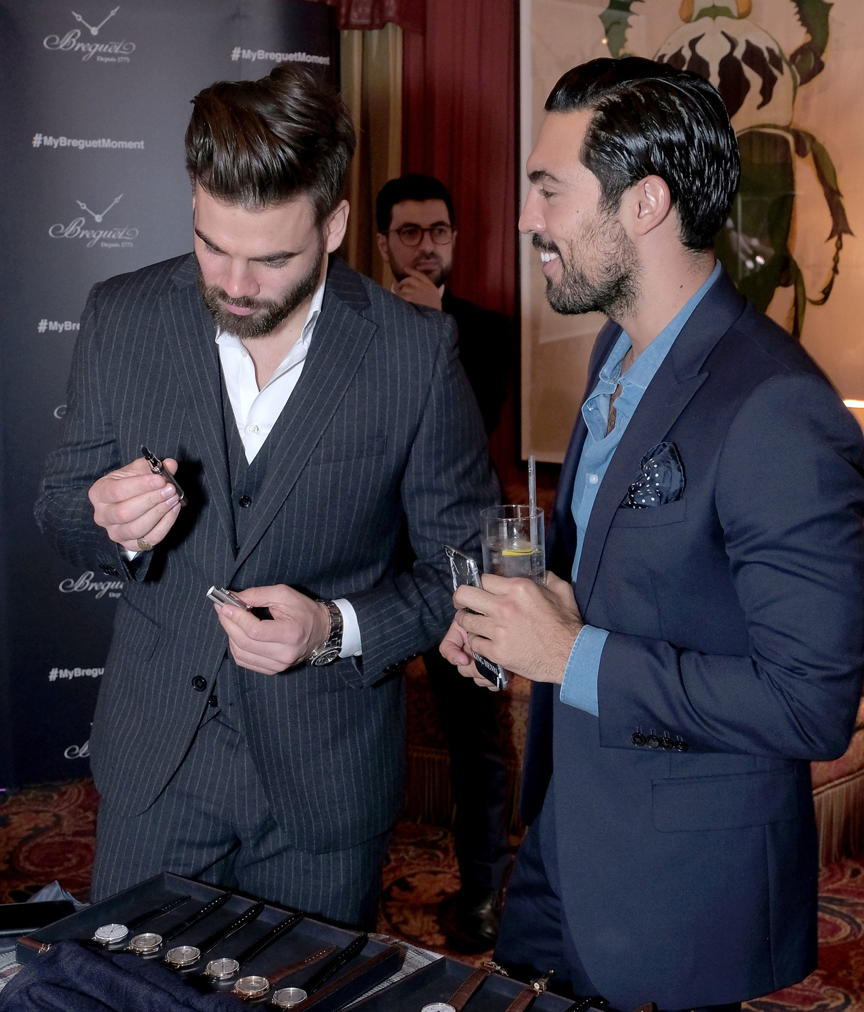 LONDON, ENGLAND - OCTOBER 04: Timothy James (L) and Henri-Nicolas de Preux attend the Breguet Classic Tour #MyBreguetMoment in association with The Gentleman's Journal at Mark's Club on October 4, 2017 in London, England. (Photo by David M. Benett/Dave Benett/Getty Images for Breguet) *** Local Caption *** Timothy James; Henri-Nicolas de Preux