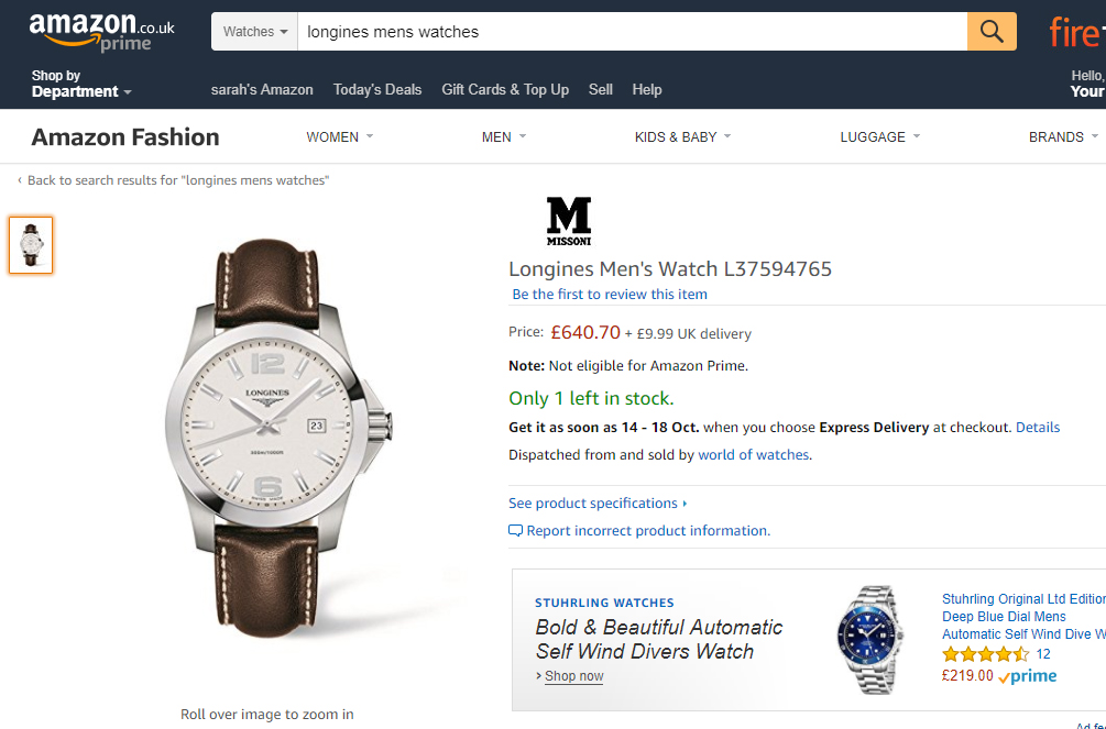 Longine watches were offered on amazon.co.uk today from World of Watches, which is registered in Spain.