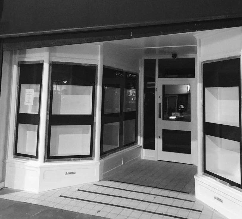 Clarks shows the blanked out windows of the new Uckfield store as it starts the fit out.
