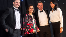 Jaeger LeCoultre's Vanessa Jaulimsing, deputy boutique manager and Zahra Kassim-Lakha, UK brand director, collect their award from the WatchPro team of Rob Corder and Daniel Malins.