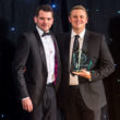 LBS's director Sam Rose presents the WatchPro Award to Beaverbrooks buyer Nick Bucknell.