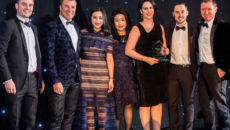 Melissa O'Brian, National concessions manager; Dan Drakes. sales manager; Jingjing Du, sales manager; Grace Zhou, assistant sales manager; Nathan Ellis, assistant manager Rolex at Selfridges collect the award for Department Store of the Year.