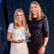Michael Kors' Gemma Wharton, senior sales manager, and Hannah Davis, head of sales, collect the WatchPro Award for Best Connected or Smartwatch of the Year.
