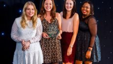 Olivia Burton's Hannah Williams, UK brand manager; Lara McManmon, international brand manager; Jane Hebden, product and creative manager; and Louisa- Dene Edwards, HR manager, collect their Award.