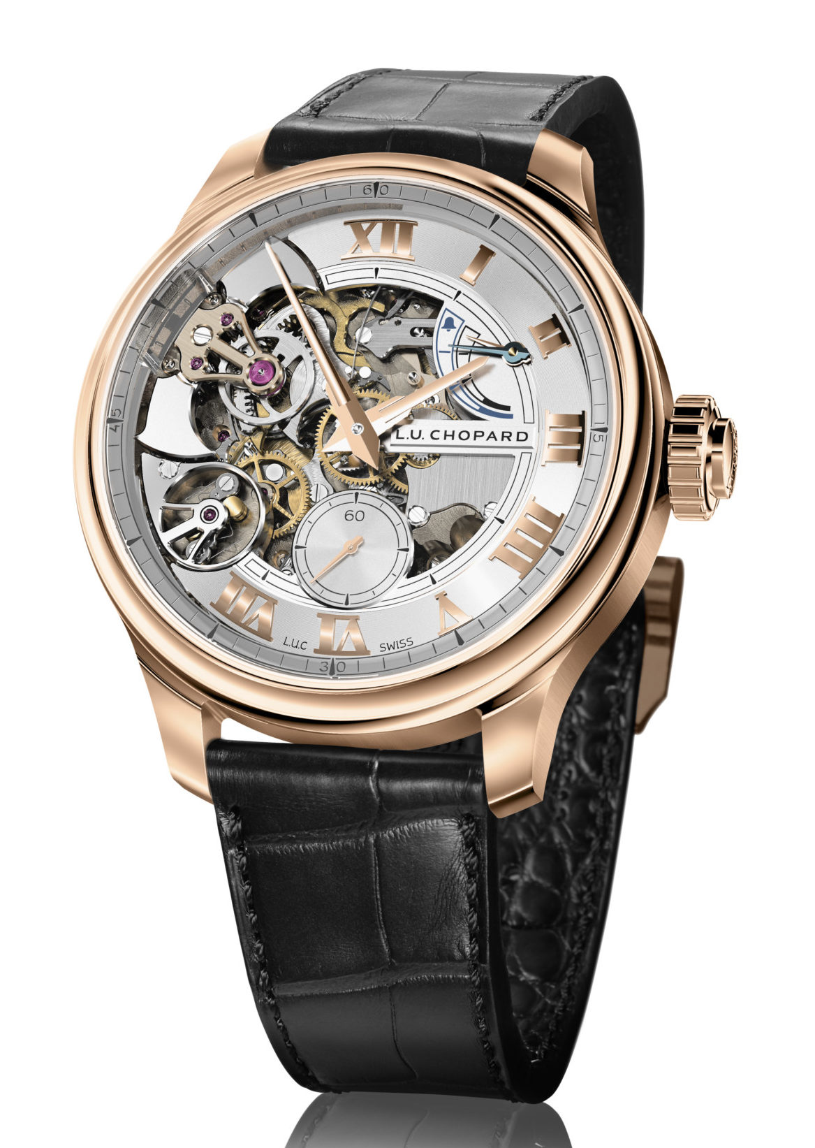 "The ""Aiguille d'Or"" Prize was won by: Chopard, L.U.C for its Full Strike timepiece."