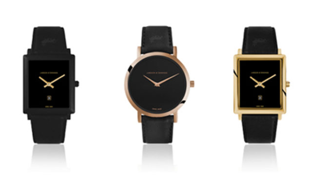 Larsson & Jennings shows how square watches fit into its Jette collection this season.