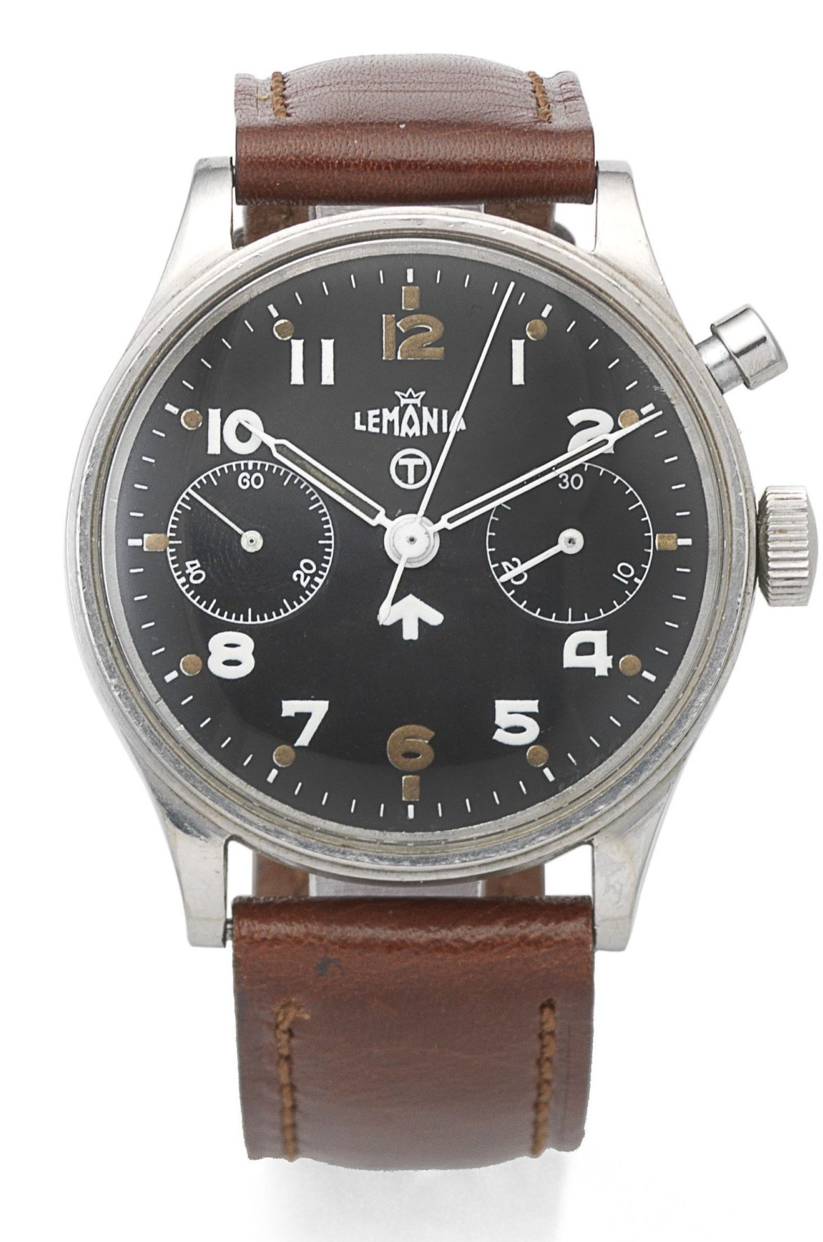 A Lemania stainless steel manual wind single button chronograph wristwatch Circa 1950 has an estimate of £1,500-2,000.