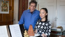 MUSIC PROTÉGÉE PAUCHI SASAKI SEEN HERE WITH HER MENTOR PHILIP GLASS, WILL BE APPEARING IN BERLIN.