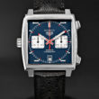 TAG HEUER MONACO MATT BLUE DIAL CHRONOGRAPH AUTOMATIC 39MM BLACK PERFORATED LEATHER STRAP
