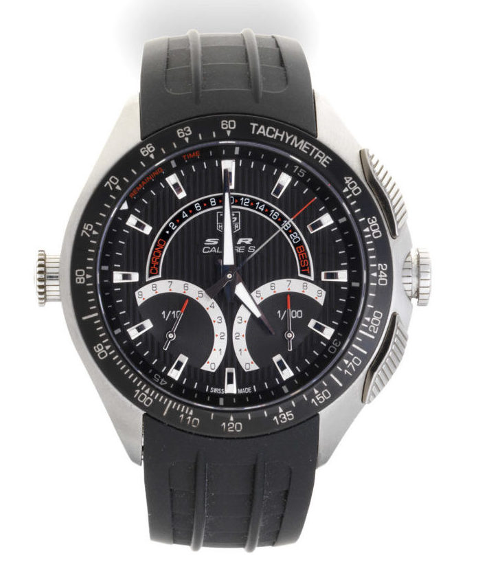 TAG Heuer black DLC coated stainless steel automatic calendar chronograph is expected to sell for £1,500-2,000.
