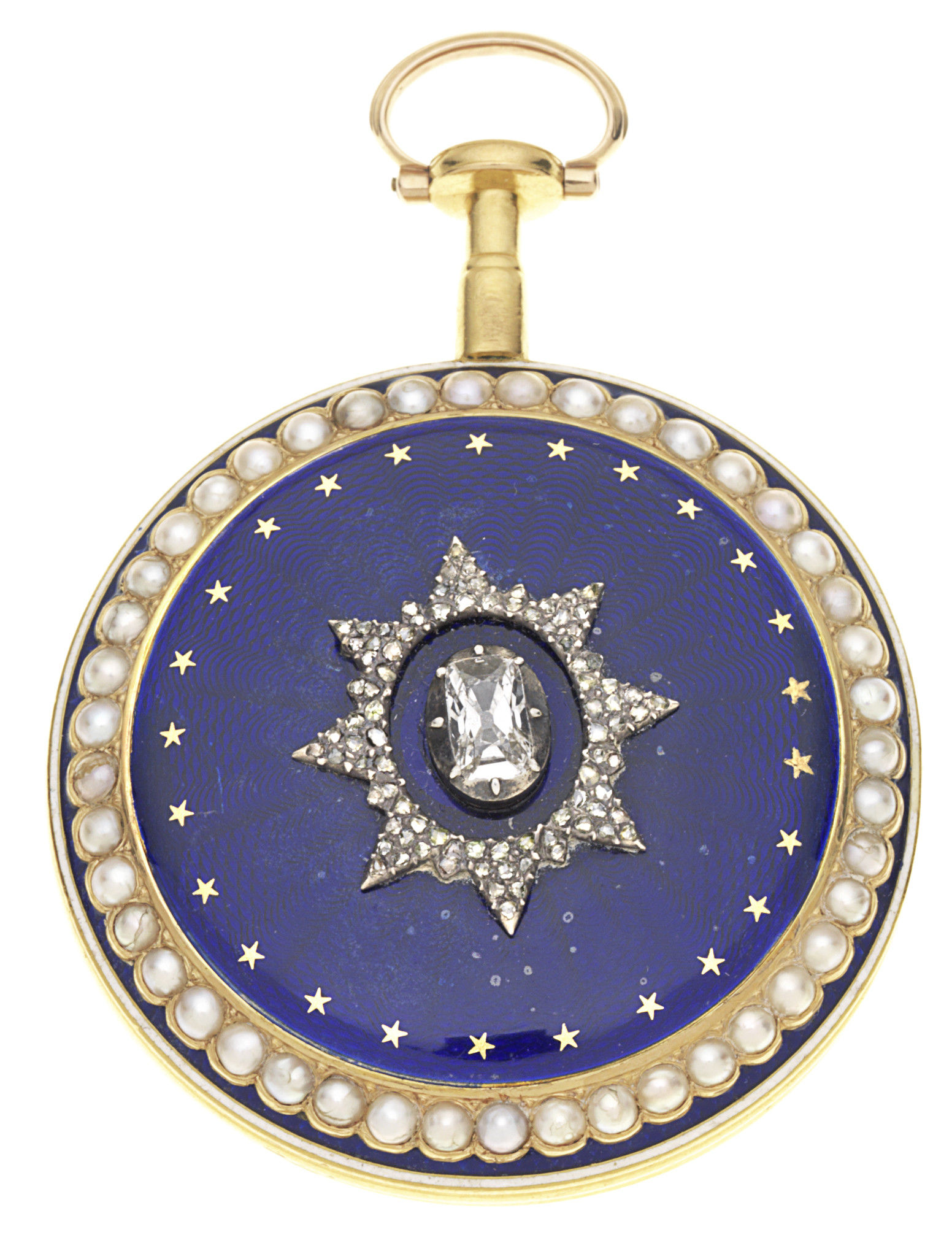 Johnson, Grays Inn Passage gold, enamel and seed pearl set key wind open face pocket watch with £1,500-2,000 estimate.