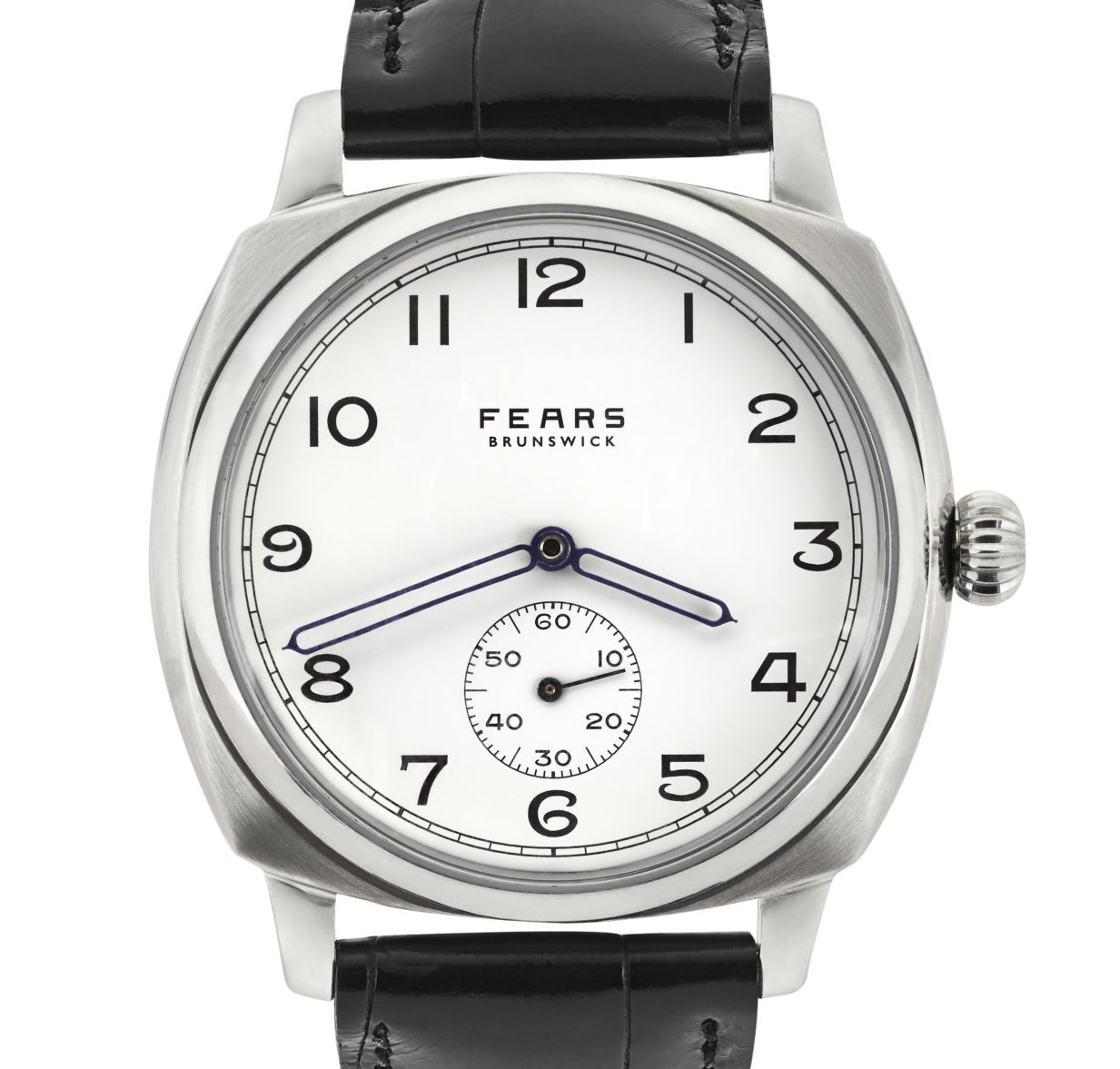 Fears Brunswick – Enamel White dial on Black Alligator