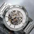 Wierd Ape kolt - white silver skeleton watch with metal strap