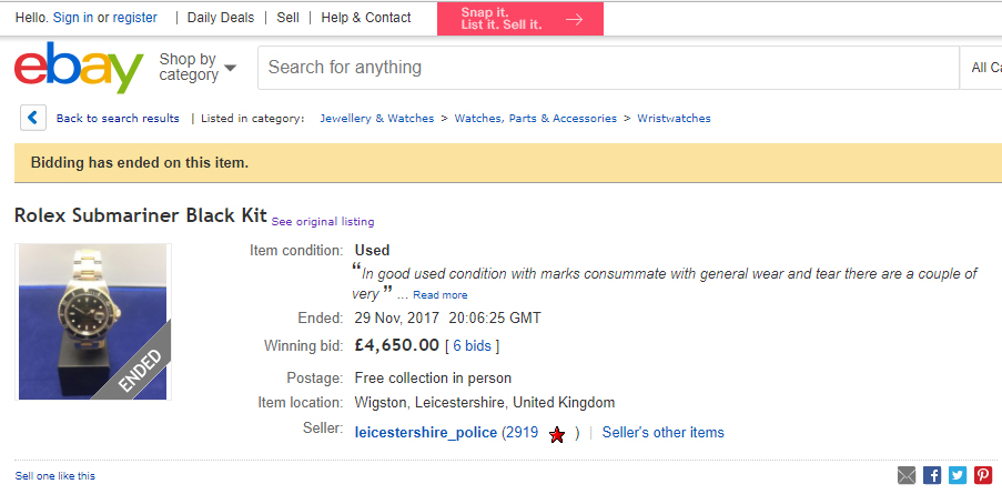 Leicestershire Ebay Rolex listing